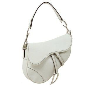Dior Saddle Hand Bag White Leather Italy Vintage A